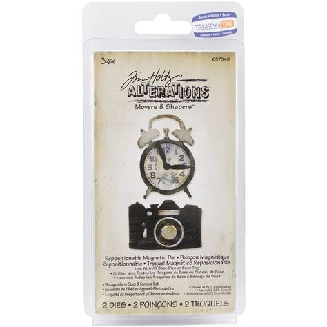 Sizzix Movers /& Shapers Magnetic Dies By Tim Holtz 2//Pkg-Vintage Alarm Clock /& Camera