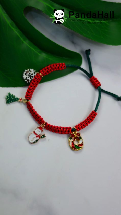 #PandaHall Tutorial on Red Christmas Braided Bracelet
