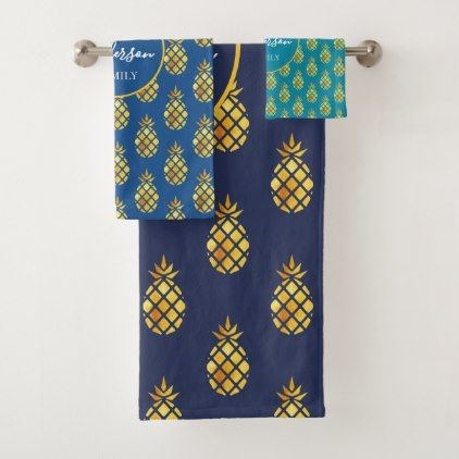 Golden Pineapples On Sea Blue Green Family Name Bath Towel Set
