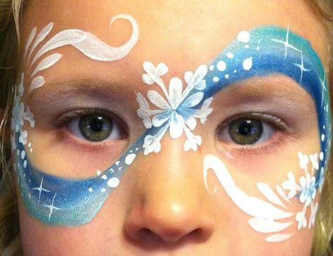 Wintery mask face painting.