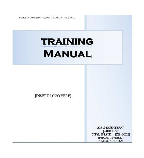 Training Manual Template Business Manual Words