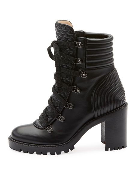 9c2318e92b4 Christian Louboutin Mad Lace-Up Leather Block-Heel Hiker Boots in ...
