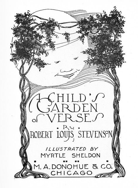 Myrtle Sheldon CGV Title Page W Moon A Childs Garden Of Verses By Robert Louis Stevenson Illustrated Donohue And Co