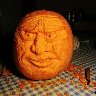 How To Carve A Realistic Face On A Pumpkin Carving Halloween Pumpkins Carvings Pumpkin