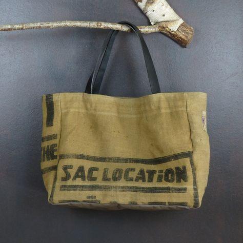 202d4136d1 Cabas original et unique en toile de jute ancienne (sacs à grains  transformés) fait main forme cabas idéal plage ou shopping de la boutique  MADEinPERCHE sur ...