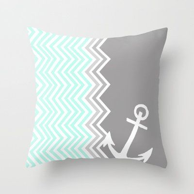 Nautical Chevron Throw Pillow