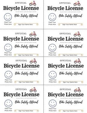Free Printable Bike Safety License To Teach Kids Bicycle Safety