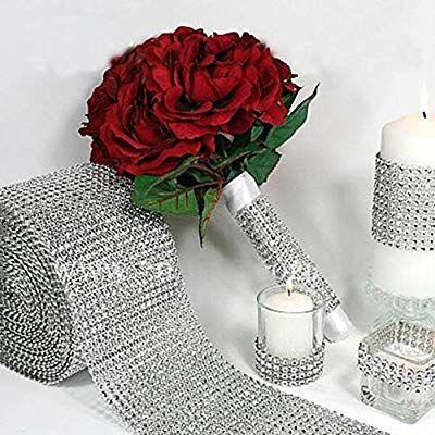1 Yard Diamond Rhinestone Ribbon Mesh Wrap Wedding Party Floral Decorations