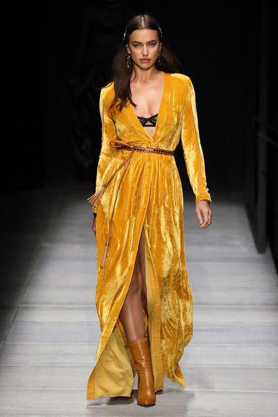 Irina Shayk walks the runway at Bottega Veneta Fall/Winter 2018 Collection at the American Stock Exchange.