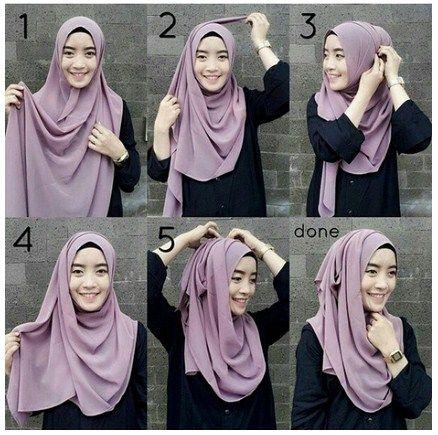 Tutorial Hijab Segiempat Tanpa Ciput Ninja Hijab Gaun Gambar