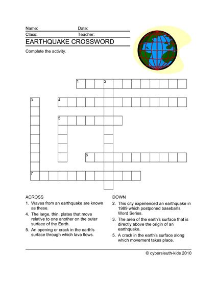 Earthquake Crossword Puzzle For Kids Cybersleuthkids Crossword Puzzles For Kids Kids Crossword Puzzles