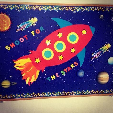 Bulletin boards , kindergarten , school, Rocket , preschool, winter, autumn, spring, summer, sky, stars, reach the stars, Cambridge School of Bucharest , Shoot for the Stars