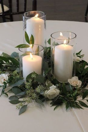 Greenery And Candles Centerpieces Eucalyptus Wedding Decor Wedding Table Centerpieces Wedding Centerpieces