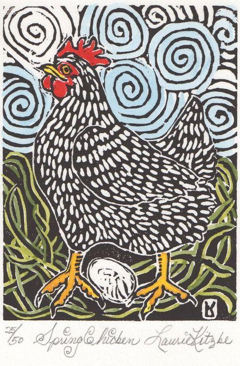 Spring Chicken, Hand Watercolored, Linoleum Block Print, Laurie Kitzke $55