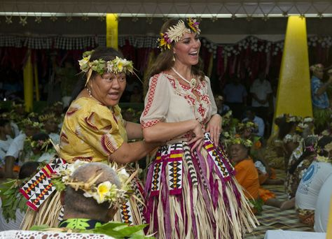 Royal tour of the Far East and South Pacific - Day Eight  The Duchess of Cambridge gets into costume with locals at Vaiaku Falekaupule during a visit to Tuvalu, Solomon Islands, during a nine-day royal tour of the Far East and South Pacific in honour of the Queen's Diamond Jubilee.
