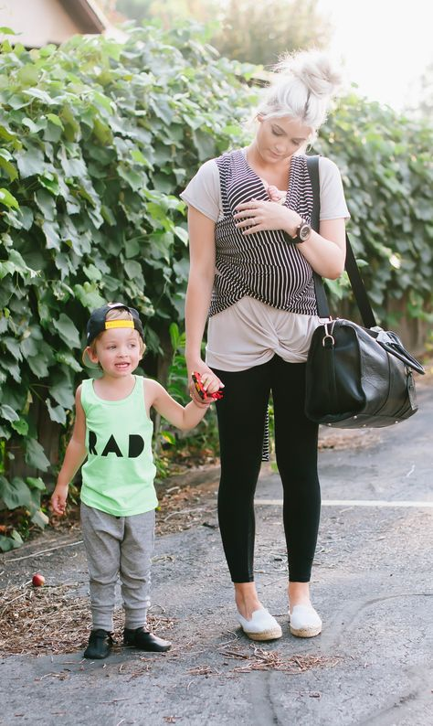I love this mom's easy, laid-back but edgy style. I love the little boy's style and the baby's Maya wrap!