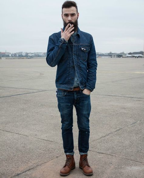 Men'S fashion › fashion for 30 year old men men's navy denim jacket, grey denim shirt, navy jeans, dark brown leather casual