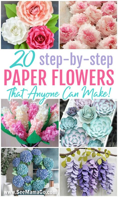 easy paper flowers DIY Paper Flowers: HOw to make easy step-by-step tutorial to create the perfect paper flowers at home. Easy DIY paper flowers that anyone can make! With a Cricut o Paper Flowers Craft, How To Make Paper Flowers, Large Paper Flowers, Paper Flower Wall, Paper Flowers For Wedding, Paper Flower Bouquets, Diy Paper Roses, Making Tissue Paper Flowers, Rolled Paper Flowers