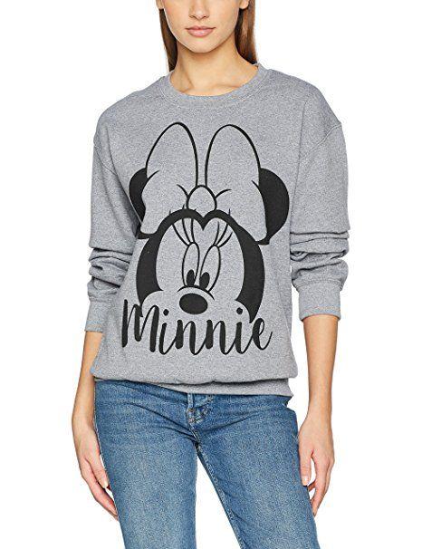 FABTASTICS Disney Minnie Mouse Damen Sweatshirt, Grau (Grey