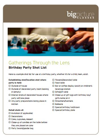 Here Is A Sample Shot List For Use At A Birthday Party Whether