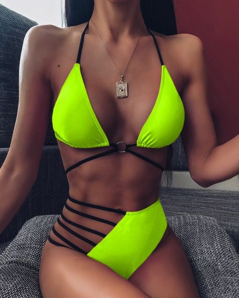 High Waist Bikini Bottoms  Neon Green Swimsuit  High Leg Cut  Swimwear  Women  Large  Rave  Music festival