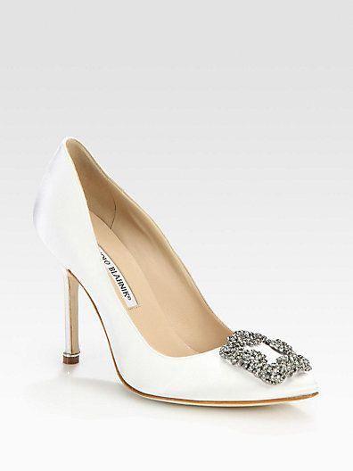 qualità del marchio abbigliamento sportivo ad alte prestazioni stile unico Manolo #Blahnik #Hangisi #jewel #white #satin #wedding ...