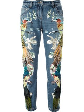 Roberto Cavalli Embroidered Birds Feathers Jeans ARS) ❤ liked on…