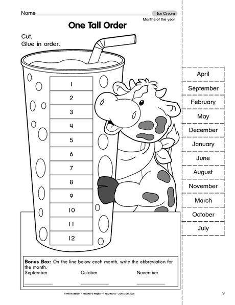 Month Worksheets For Preschool English Worksheets For Kids Kindergarten Worksheets Months In A Year