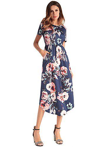 3829dbbf05 Robe Été Femme Maxi Vintage Robe Manches Courtes Robe de Soirée Midi  Florale en Silk Navy