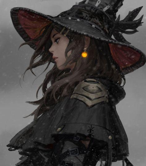 Pretty witch girl: Original fantasy character [digital art by GUWEIZ] Anime Fantasy, Fantasy Kunst, Fantasy Girl, Fantasy Witch, Fantasy Queen, Fantasy Wizard, Fantasy Character Design, Character Design Inspiration, Character Art
