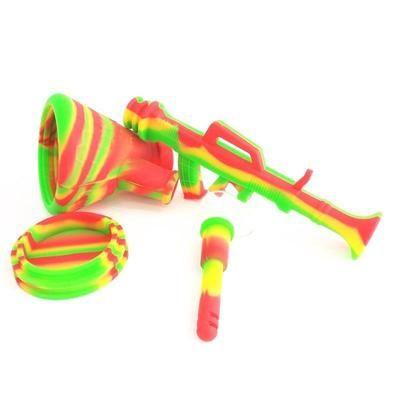 Silicone Water Pipes Bubbling Bazooka Rig or Hookah Gun Shaped
