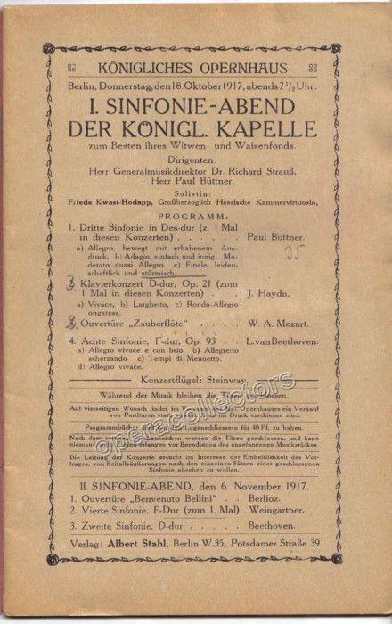 Concert Program Konigliches Opernhaus, Berlin 1917 - Strauss and - concert program