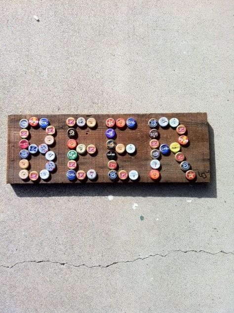 Hammer beer bottle or cola caps onto a piece of wood to create sign for garage or man cave home decor; upcycle, recycle, salvage, diy, repurpose! For ideas and goods shop at Estate ReSale & ReDesign, Bonita Springs, FL