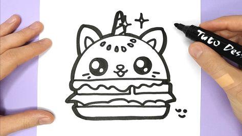 Comment Dessiner Et Colorier Un Hamburger Chat Licorne
