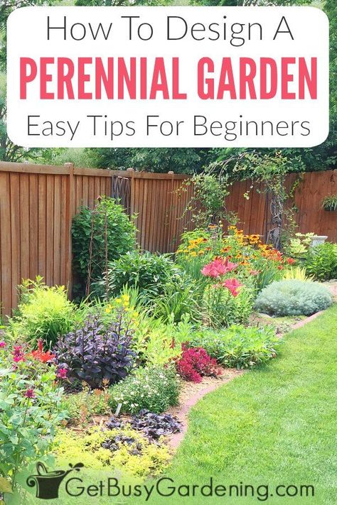 Perennials Made Easy! How To Create Amazing Gardens – Get Busy Gardening Design a beautiful perennial flower garden the easy way! You can eliminate the need for a professional landscape designer to create colorful,. Garden Yard Ideas, Garden Projects, Garden Beds, Simple Garden Ideas, Perennial Garden Plans, Flower Garden Plans, Perennial Gardens, Flower Garden Design, Garden Landscape Design