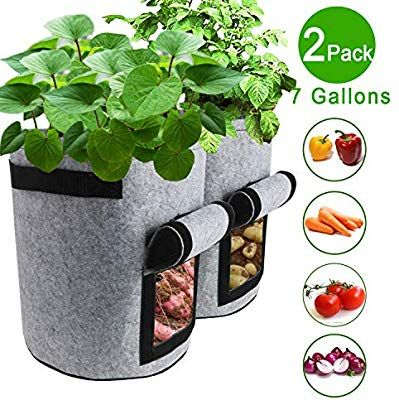Tqqfun 2 Pack 7 Gallon Smart Potato Grow Bags Velcro Window Vegetable Grow Bags Double Layer Pre Container Gardening Vegetables Container Plants Planting Pots