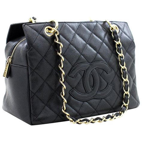 CHANEL Caviar Chain Shoulder Shopping Tote Bag Black Quilted Purse Luxury Purses, Luxury Bags, Luxury Handbags, Hobo Handbags, Chanel Handbags, Purses And Handbags, Hobo Purses, Cheap Handbags, Burberry Handbags