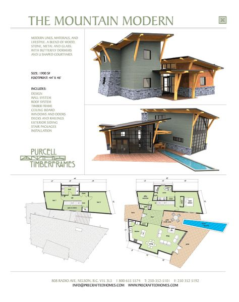 Purcell Timber Frames -The Mountain Modern - Prefab Full Home Package. I'm pretty much in love with this. It reminds me of the current HGTV Dream Home.