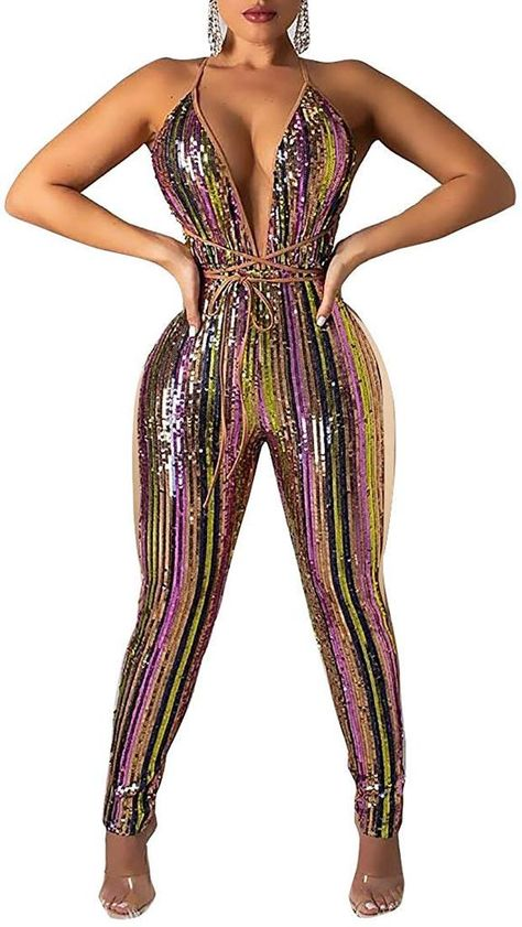 Chicmay Women Sparkly Sequins Jumpsuit Colorful Stripe Print Patchwork Backless Deep V Neck Bodycon Romper Clubwear