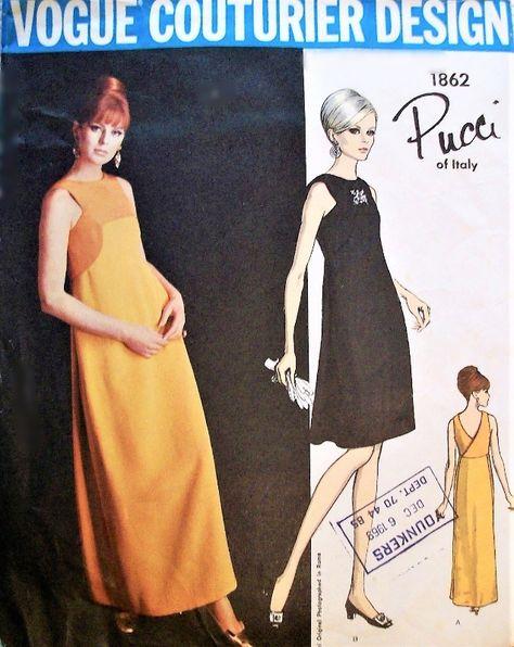 622752ec0b5 1960s PUCCI Evening Gown Cocktail Party Dress Pattern VOGUE Couturier  Design 1862 Lovely Back Wrap Surplice