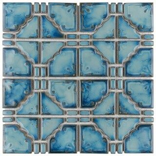 Somertile 11 75x11 75 Inch Luna Diva Blue Porcelain Mosaic Floor And Wall Tile 10 Tiles 9 79 Sqft In 2020 Porcelain Mosaic Tile Mosaic Flooring Porcelain Mosaic