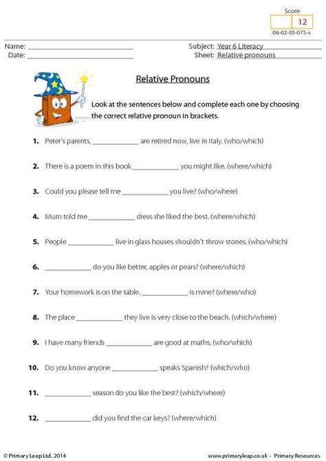 Primaryleap Co Uk Relative Pronouns Worksheet Pronoun