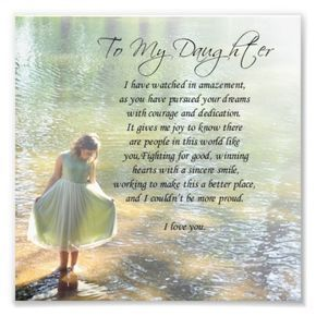 To My Daughter Little Girl in Water Poem Print