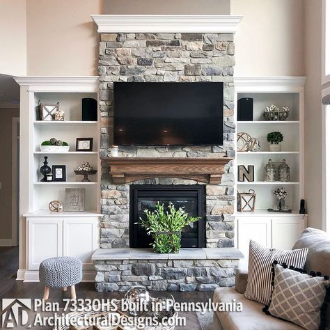 Classic Farmhouse Stone Fireplace Want to add a fireplace to the interior design of your home? Here are some unbelievably charming stone fireplace ideas for your inspiration. Stone Fireplace Decor, Fireplace Built Ins, Farmhouse Fireplace, Home Fireplace, Living Room With Fireplace, Living Room Grey, Home Living Room, Living Room Designs, Living Room Decor