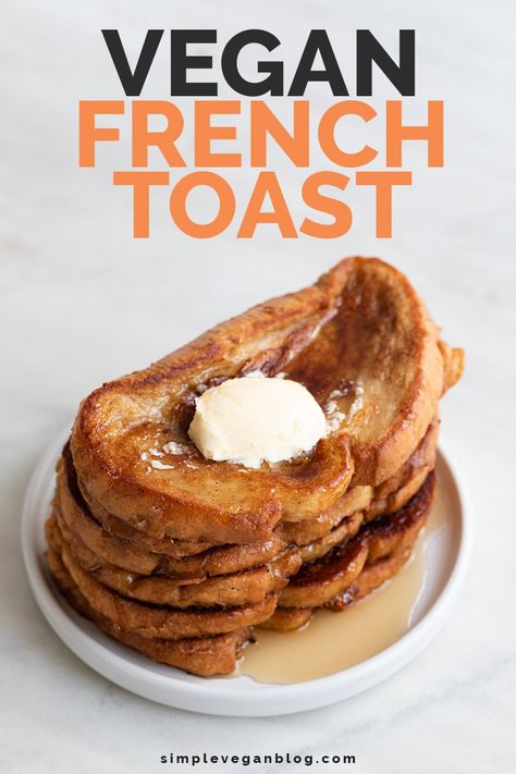 Mar 2020 - Vegan French toast, a delicious childhood recipe but with no eggs or dairy. It's sweet, crunchy and soft, and only made with 7 ingredients. Vegan Foods, Vegan Dishes, Vegan Desserts, Vegan Recipes, Vegan Ideas, Vegetarian Breakfast Recipes, Healthy Vegetarian Breakfast, Healthy Breakfasts, Vegetarian Cooking