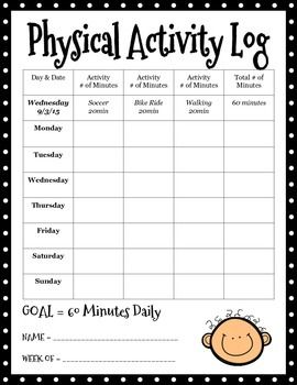 Physical Activity Log Physical Education Activities Health And