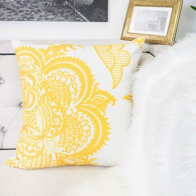 Ebern Designs Zettie Indoor Outdoor Cotton Throw Pillow In 2021 Yellow Bedroom Decor Cotton Throw Pillow Throw Pillows