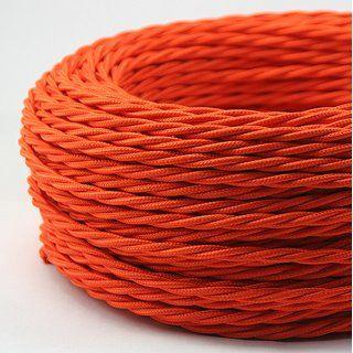 Textilkabel Orange 3 Adrig 3x0 75 Gedreht Doppelt Isoliert Textilkabel Textil Kabel