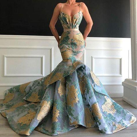 Long Elegant Arabic Women Evening Dress 2020 Sexy Mermaid Spaghetti Strap Floral Print Dubai Formal Evening Gowns   LiveTrendsX Women's Evening Dresses, Event Dresses, Ball Dresses, Ball Gowns, Formal Evening Gowns, Formal Dresses Long Elegant, Designer Evening Gowns, Afternoon Dresses, Flapper Dresses