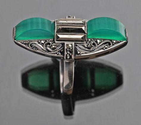 GUSTAV BRAENDLE, THEODOR FAHRNER  Art Deco Ring   Silver Chalcedony Marcasite  H: 3.2 cm (1.26 in)   Marks: 'TF' monogram & '935'  German, c.1925